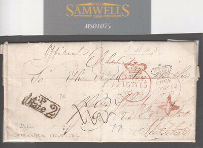 MS1075 1835 CHELSEA HOSPITAL Official FREE Entire Letter Dublin MILITARY Ireland
