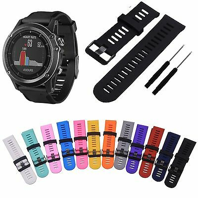 Silicone Replacement Strap Wrist Watch Band w/Tool For Garmin Fenix 3/Fenix 3 HR