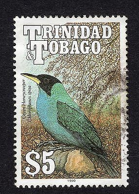 1990 Trinidad & Tobago $5 Green Honeycreeper SG 844 GOOD Used R18182