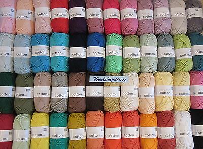 50g BALLS RICO CREATIVE COTTON ARAN KNITTING/CROCHET YARN - NEW SHADES ADDED