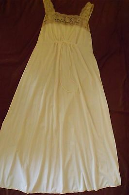 Vintage Vanity Fair Ladies  Long Nylon Gown with Ecru Lace Size Medium