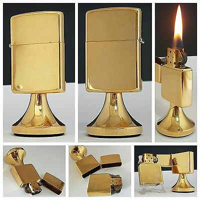 Briquet de table / ZIPPO plaqué or / Vintage petrol lighter feuerzeug accendino