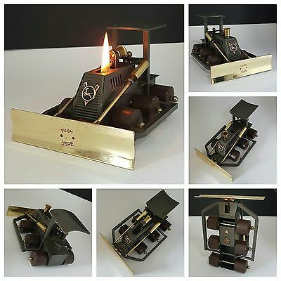 Briquet de table / BULLDOZER JAPAN / Vintage petrol lighter feuerzeug accendino