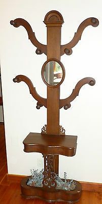 "walnut ""tree"" antique hat rack stand with mirror made in UK"
