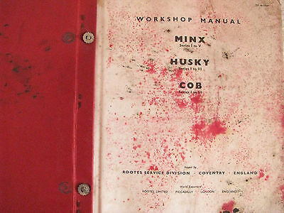 commer cob minx and  huskey factory workshop manual garage copy  about 1965