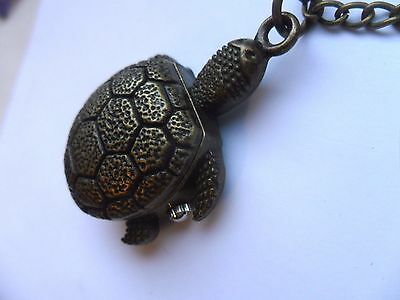 Cute  Bronze TURTLE Necklace Watch