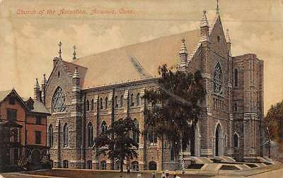 Ansonia Connecticut Church Of Ascention Street View Antique Postcard K50641