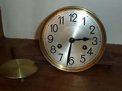 """Complete German wall clock movement 5"""" dial hands pendulum - for spares"""
