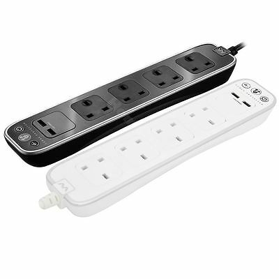 Masterplug Surge Protected 1 Meter 4 Gang Extension Power Lead with 2 USB Ports