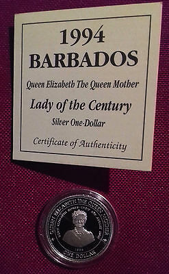 1994 Barbados Queen Mother Silver Proof $1 One Dollar