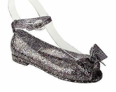 Girls Black Glitter Jelly Summer Beach Holiday Low Heel Sandals Shoes Size 10-2