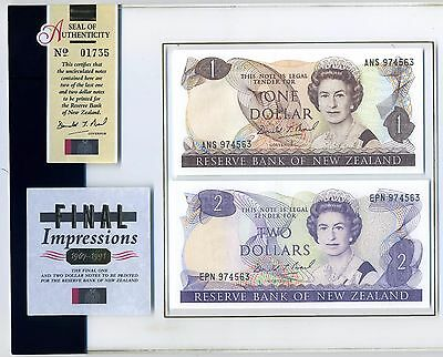 """New Zealand One Dollar & 2 Dollar Banknote """"Final Impressions"""" 1967-1991 Pair"""