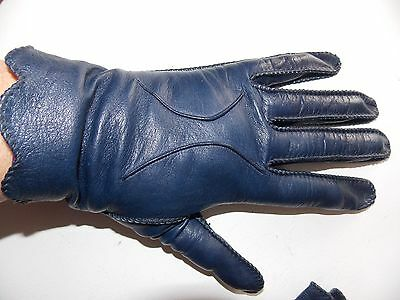 Women's Vintage Dress Navy Blue Leather Kid Gloves