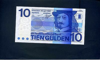 Netherlands Holland Dutch 10 Tien Gulden   Banknote 1968 Pick 91
