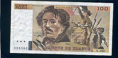 France French 100 Cent Francs Banknote 1994