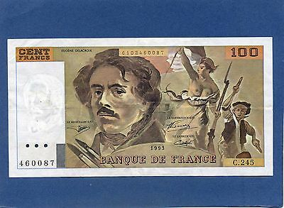 France French 100 Cent Francs Banknote 1993