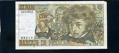 France French 10 Dix Francs Banknote 1974