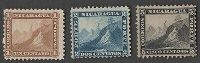 Nicaragua stamps. 1869-1871. Liberty Cap on Mountain Peak. Sc.3-5, MH