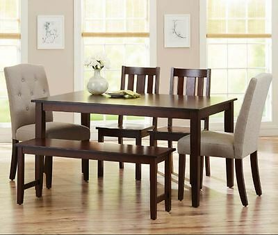 5Dining Table Set 6 Piece Bench Kitchen Parson Chairs Wooden Breakfast Nook Wood