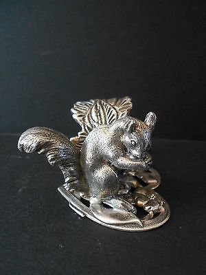 Silverplate Figural Napkin Ring w/ Squirrel on Heart  by Grigley Victorian
