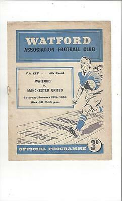 Watford v Manchester United FA Cup Football Programme 1949/50