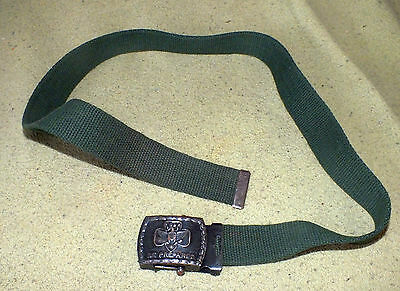 Vintage Green Cloth Belt Be Prepared Eagle Embossed