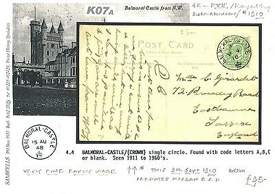 K07a 1910Early Use Balmoral Castle Crown CDS/Eastbourne