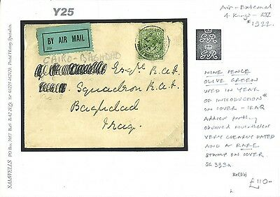 Y25 1922 9d Rate Airmail/Baghdad Iraq
