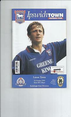 Ipswich Town v Luton Town Football Programme 1995/96