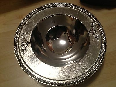 NEW BAT DISPLAY SILVER BEADING METAL TRAY PLATTER BOWL Halloween  Decor