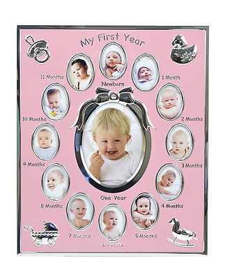"Concepts Baby ""My First Year"" Pink Metal Picture Frame With Bow And 12 Oval Pict"