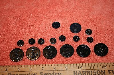 16 US Navy Black Peacoat Plastic Buttons Different sizes