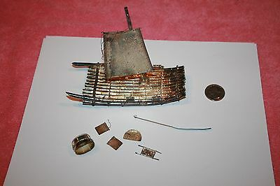 Antique Japanese Hand Crafted Bamboo Sail Raft of Fine Silver Wood Base