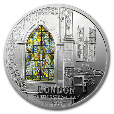 Cook Islands Windows of Heaven Westminster Abbey $10 2011 Silver Coin