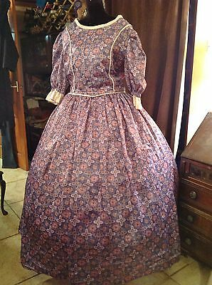 Ladies Cotton Day or Evening Dress Western Style Re-enactment