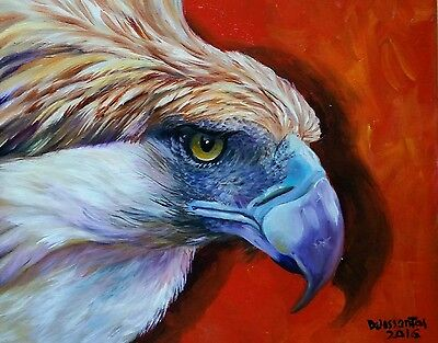 "RED ZONE PHILIPPINE EAGLE  16x20"" oil on canvas original painting  awesome!"