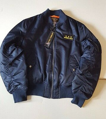 Avirex Usa Navy Blue Nylon Flight Bomber Jacket Style M-1945-87 Size M