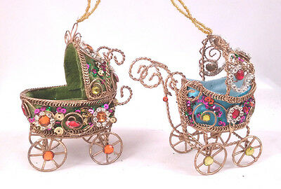 BABY CARRIAGE Set of 2 Jeweled Wire Victorian Era Style Christmas Ornaments NEW