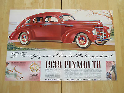 """Vintage 1939 Plymouth Car 1938 Centerfold 2 Page Color Print Ad, 13.875"""" X 21"""""""