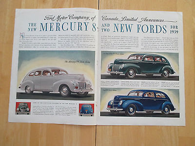 """Vintage 1939 Ford Car 1938 Centerfold 2 Page Color Print Ad, 13.875"""" X 21"""""""