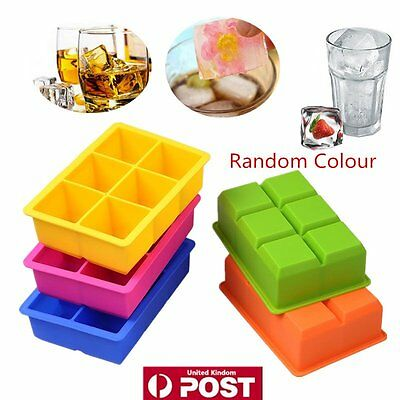 6-Cavity Large Silicone Drink Ice Cube Pudding Jelly Soap Mould Tray Tool DG