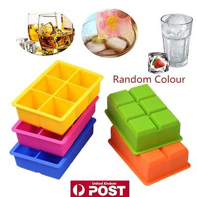 Large Silicone Drink Ice Cube Pudding Jelly Soap Mould Tray Tool Random 6-Cavity