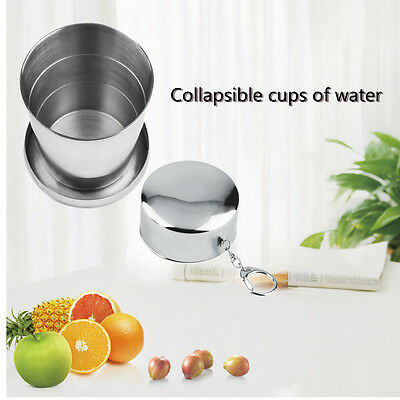 8oz 240ml Stainless Steel Portable Folding Telescopic Collapsible Outdoor Cup DG