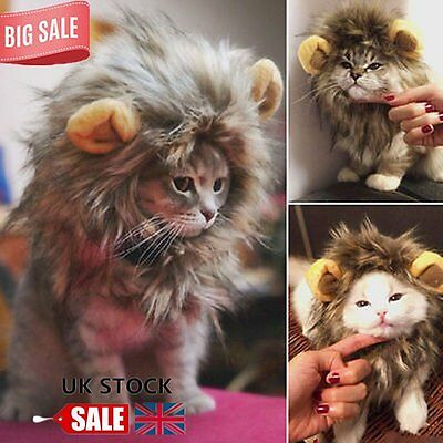 Pet Hat Lion Mane Wig For Cat Halloween Fancy Dress Up With Ears Festival DF