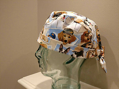 Dogs on blue OR pixie surgical scrub hat with ties, women's scrub hat, chemo