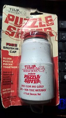 NEW TULIP Jigsaw Puzzle Saver Glue 4 oz.Brush in Cap Dries Clear & Glossy