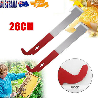 1X  26cm Stainless Steel Bee keeper Bee Hive Tool J Shape Hook Scraper AU Stock