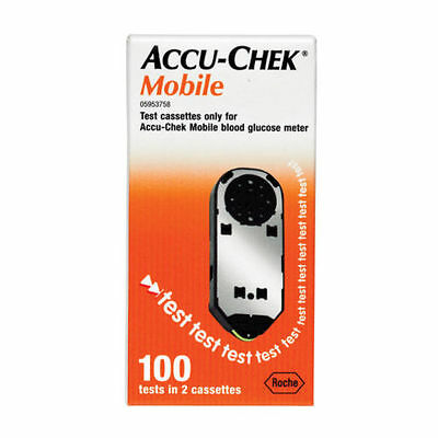 Accu Chek Mobile Test Cassettes (100 Tests in 2 Cassettes) Exp Jan 2018