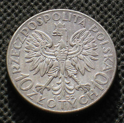 BIG OLD SILVER COIN OF POLAND 10 ZLOTY 1932 JADWIGA SECOND REPUBLIC Ag - B