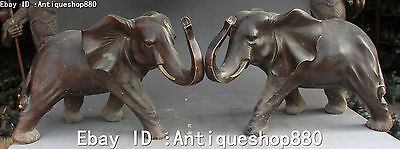 Old Chinese Fengshui Bronze Elephant Elephants Auspicious Animal Statue Pair